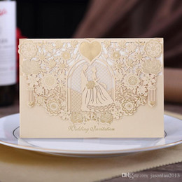 Wholesale Red Flower Nature Wholesale - 30pc lot new church wedding invitation champagne red laser cut personalized printing flower round bride invites Wedding Supplies