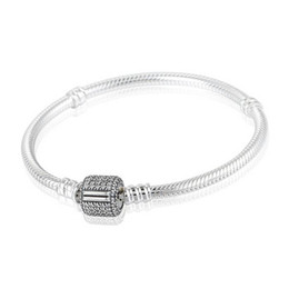 Wholesale European Clip Beads - Authentic 925 Sterling Silver Snake Charm Bracelets For Women with AAA Cubic Zirconia Micro Pave Clip Clasp Fits European Beads PD7