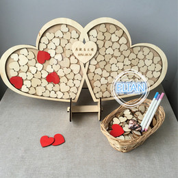 Wholesale Personalised Gift Boxes - Send Express Personalised Wedding Guest book, Custom Drop top Drop box wedding alternative GuestBook with Hearts, Wedding decoration Gift