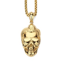 Wholesale Vintage Man Figure - Hot Fashion Man Figure Jewelry Human Head Pendant Necklace Hip Hop Vintage Cool Gold Plated Stainless Steel Chain For Men Women