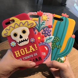 Wholesale Iphone Love Flower Case - 3D Cactus Soft Silicone Phone Case for iPhone 7 7Plus Hola Skull Cover for iPhone 6S Plus Amour Love Flowers Cacti Back Case