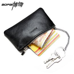 Wholesale Black Square Rings For Men - Wholesale- Genuine Leather Coin Wallet for Men Black Blue Brown 3 Colors Change Purse Women Zipper Coin Bag Leather Key Bag With Key Rings