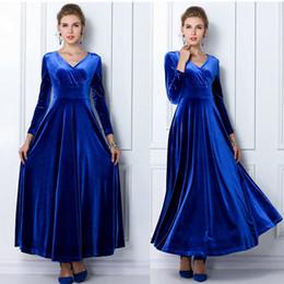 920c77fd6f Wholesale- Winter Women Plus Size Velvet Dress Long Sleeve Maxi Dress  Evening Party Vintage Dress Black Blue Green Purple Vestido Longo
