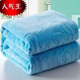 Wholesale Thick Fleece Blanket Ship - Thick flannel blanket coral fleece on the bed sofa winter warm soft full queen king size free shipping
