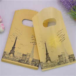 Wholesale Eiffel Tower 15cm - Wholesale-2016 Hot Sale New Style Wholesale 50pcs lot 9*15cm High Quality Party Gift Packaging Small Yellow Eiffel Tower Gift Bags