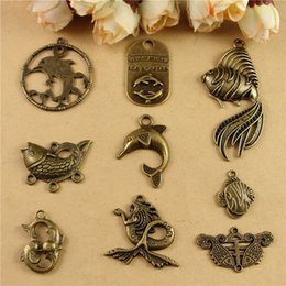 Wholesale Marine Materials - DIY accessories carp Dolphin charms, wholesale beads material marine life restoring ancient nautical fish Mermaid charm pendant connector