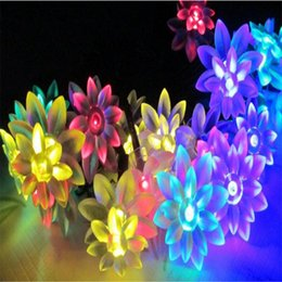 Wholesale Lotus Outdoor Lighting - Wholesale- EU plug Lotus Flower String Fairy Light Lamp Party In  outdoor 10M 100 LED home garden light string for Wedding decoration