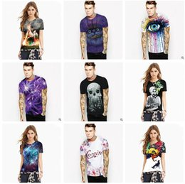 Wholesale T Shirts Skull Men Wholesale - Couple Clothing t shirts for Men 2017 Summer Tops for Men 3D Digital Printed Men's 3D T-Shirts Skull Einstein Tiger Printed Tees