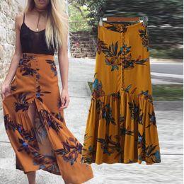 Wholesale boho print maxi skirt - High waist boho print long skirts Women split maxi skirt floral print beach bohemian dresses Female chic vintage 2017 summer holiday skirt
