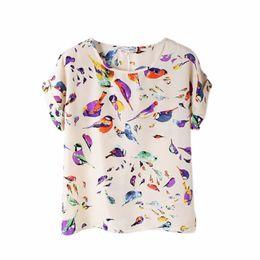Wholesale Bird Print Chiffon - Wholesale- Summer Fashion O Neck Bird Printed Women Tops Colorful Short Sleeve Female T-Shirts Batwing Loose Chiffon Shirt Feminino