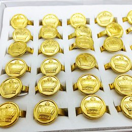 Wholesale Asian Bulk Jewelry - wholesale bulk lots gold color Crown men's women's vintage stainless steel Jewelry Rings biker finger ring brand new