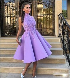 Wholesale High Low Homecoming - Lavender High Neck Prom Dresses Knee Length Appliques Satin Sexy Low Back Cocktail Party Dress Homecoming Dress Girls Formal Evening Wear