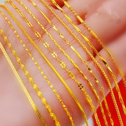 Wholesale Water Singapore - Top Quality Water Wave Singapore Necklace Chains With Lobster Clasps 40cm 45cm women 18k gold plated chain jewelry Y#167