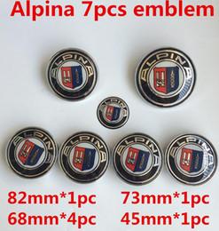Wholesale Alpina Wheels - 7pcs New Car Styling 82 74 68 45mm M Alpina Blue White Black White Front Hood Rear Boot Steering Wheel Caps Badge Emblem
