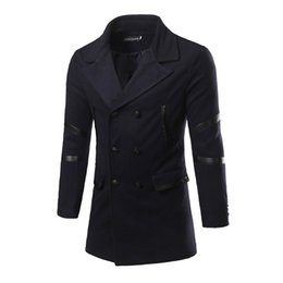 Wholesale Men S Fitted Trench Coat - Wholesale- Autumn and winter men 's brand clothing fashion trench coat men new 2016 social fit winter coat men long Slim