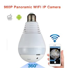 Wholesale surveillance camera lenses - Fisheye Lens 360 Wireless Panoramic HD IP Camera,Led Bulb Home Security System With Real Time Surveillance And Intercom,White