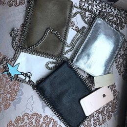Wholesale Silver Envelopes - 2017 Small Moblel Phone Bag Cellphone Pouch Silver Chains 3Colors Women Fashion Bag High Quality #S1