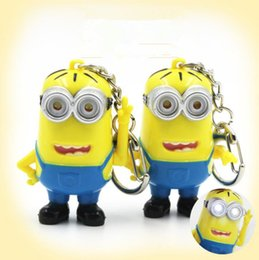 Wholesale Despicable Key Rings - Despicable Me 3D Eye LED Light Keychain Key Chain Ring Kevin Bob Flashlight Torch Sound Toy Kids Children Gifts