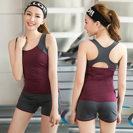 Wholesale Dance Fitness Clothes - Fitness trainer yoga clothes spring and summer show slim I vest shorts two sets of sportswear dance clothes fitness clothing