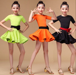 Wholesale Latin Dance Skirts Wholesale - New Latin Dance Dress Children Performance Clothing Girls Tutu Skirt Costumes Dance Wear 3 color Free Shipping A-0461