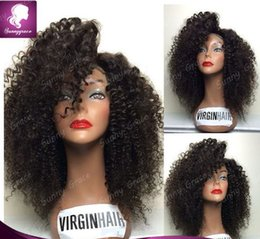 Wholesale Long Curly Heavy Wig - Heavy Density Human Hair Wigs Kinky Curly Full Lace Wig Glueless Front Lace Wigs Brazilian Human Hair With Bleached Knots Free Ship
