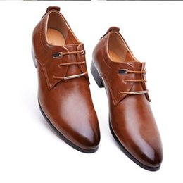 Wholesale Christmas Dress Ups - Mens business office genuine leather shoes gentleman luxury brand wedding party black brown shoes great breathable dress big size
