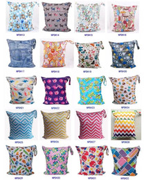 Wholesale Baby Wet Dry Cloth Diaper - Travel Baby Wet and Dry Cloth Diaper Organizer Bag Tote with Soft Snap Handle Wave Animal Patterns Chevron Zipper Waterproof Diaper Bag