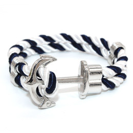 Wholesale Sailor Bracelets Wholesale - Wholesale- 2016 New Arrival Jewelry Men's Anchor Bracelets Tom hope Nautical Anchor Sailor Rope Bracelet Gold Silver plated