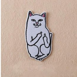 Wholesale Diy Cat Bag - Cat with The Finger Funny Embroidered Patch Iron on Sewing Applique Clothes Shoes Bags Decoration Patch Apparel DIY Patches