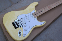 Wholesale Floyd Rose Body - 2015 Chinese Factory Custom 100% New ST cream color scalloped fingerboard big headstock Floyd rose tremolo electric guitar 930