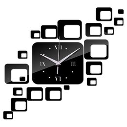 Wholesale Large Digital Clock Calendar - Wholesale-2016 new acrylic clock home decoration quartz clocks Living Room safe modern design large digital watch sticker free shipping