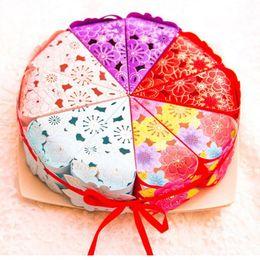 Wholesale Korean Gift Wrapping - Wholesale Korean Cake Candy Box Triangle Shape Gift wrap bag Birthday Wedding chocolate cake Box wen4512