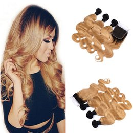 Wholesale Virgin Hair Lace Two Tone - 9A Two Tone 1B 27 Honey Blonde Dark Roots Ombre Body Wave Virgin Human Hair Bundles With Free Middle 3 Part Lace Closure