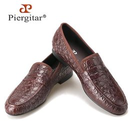 Wholesale Marble Solids - Piergitar 2017new style Marble Embossing Brown Genuine Leather Loafers Men Casual shoes Men's Flats SIze US5-14 Free shipping