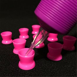 Wholesale Tattoo Cleaner Supplies - Wholesale-Tattoo Cleaning Products 130pcs Box Rose Red Silicone Tattoo Ink Pigment Cap Cups Top Quality For Tattoo Supply