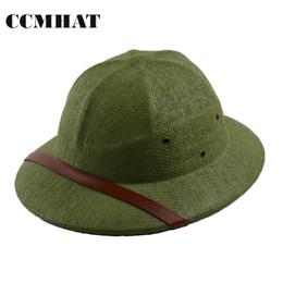 Wholesale Halloween Sites - Helmet Pith Sun Hats For Men 2017 Novelty VC Vietnam War Army 100% Paper Men's Sun Hats Caps Sunburn Site Works Straw Hats