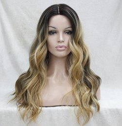 Wholesale Golden Brown Wigs - Heat Ok Ombre Dark Brown w  Golden Blonde Wavy Long Wig small edge 2017 new arrived