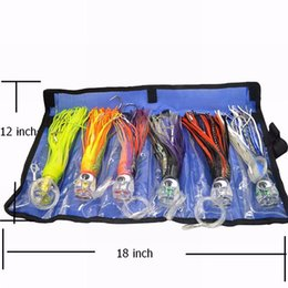 Wholesale Lure Bags - SET of 6 Pusher style Marlin   Tuna Mahi Dolphin Durado Wahoo Trolling skirt Lures. Rigged and bag included tuna 8.5 inch
