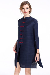 Wholesale Dress Cardigan For Women - Spring Summer Fashion Chinese Style Long Vintage cardigan with seven Buttons Pure Color Three-quarter Length Sleev Loose Dress for Women