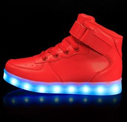 Wholesale Led Top For Girls - 2017 New Kids Boys Girls USB Charger Led Light Shoes High Top Luminous Sneakers casual Lace Up Shoes Unisex Sports for Adults