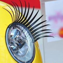 Wholesale Car Mirror Charms - Black 3D Automotive Headlight Eyelashes Car Eye Lashes Auto Eyelash 3D Car Logo Sticker charming eyelash stickers for cars 200pairs=400pcs