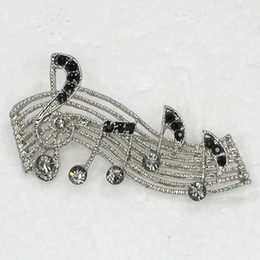 Wholesale music brooches - Wholesale Fashion Brooch Rhinestone Music Note Pin brooches Jewelry Gift C101279
