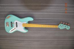 Wholesale Custom Jazz Bass - 5 string bass guitar custom for Laszlo Kicska sky blue color Second hand looking Jazz electric bass guitar Not 4 string