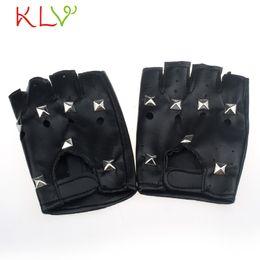 Wholesale Black Nail Gloves - Wholesale- CharmDemon Theatrical Punk Hip-hop PU Black Half-finger Leather Gloves Square Nail nr28
