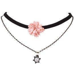 Wholesale Handmade Diamond Necklace - hot sale Fashion jewelry ladies sweet Handmade Flower Ribbon multilayer crystal zircon diamond pendant choker necklace