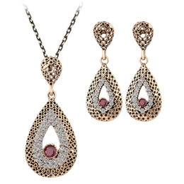 Wholesale Beads Red Necklace Earrings - Fashion Fine Vintage Jewelry Crystal Water Drop Necklace Sets Pendant Earing For Women Turkish Gilded Nigerian Red Bead Necklace