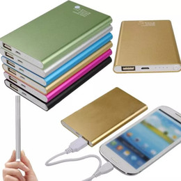 Wholesale Iphone Moblie Phone - Ultra Thin Metal External Battery powerbank Power Banks 8800 mah Power pack USB Moblie Phone Portable Powerbank for Iphone 6 5 For Samsung