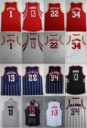 Wholesale Basketball James Jerseys - 2017 James Harden #13 Basketball Jerseys Retro 1 Tracy McGrady 22 Clyde Drexler 34 Hakeem Olajuwon Throwback Shirts Stitched Jersey