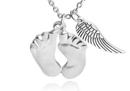 Wholesale Double Angle Wings - 500pcs cute little feet angle wing double Pendants necklaces 925 sterling silver Love baby Necklace best chrismas gift for baby