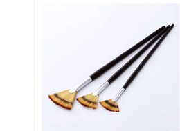 Wholesale Wholesale Oil Painting Brushes - Free shipping Painting supplies arts tools Three color nylon wool sector oil painting pen three oil painting Fan Brush